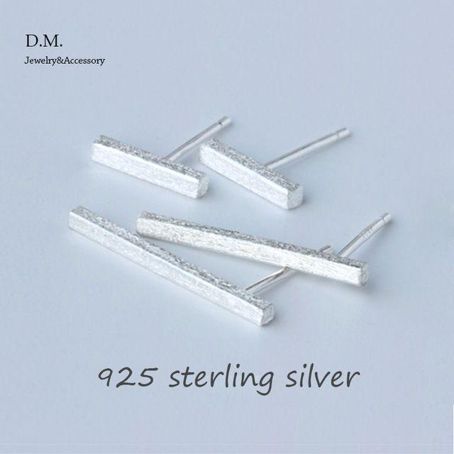 Hot Sale 925 Sterling Silver Square Bar Earrings Minimalist Style Rectangle Geometric Shapes Stud Earrings For Women Jewelry