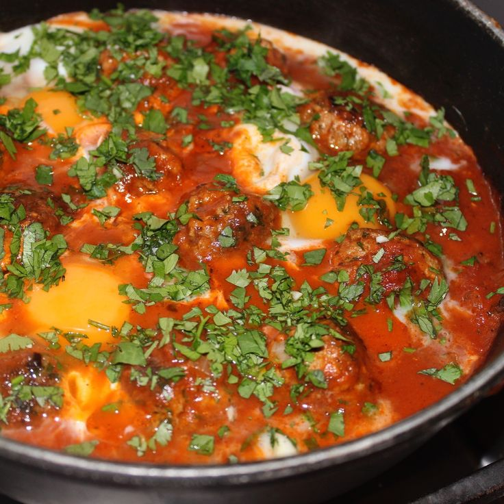 Moroccan Meatballs and Eggs using Spice Fusion's Moroccan Spice Blend.