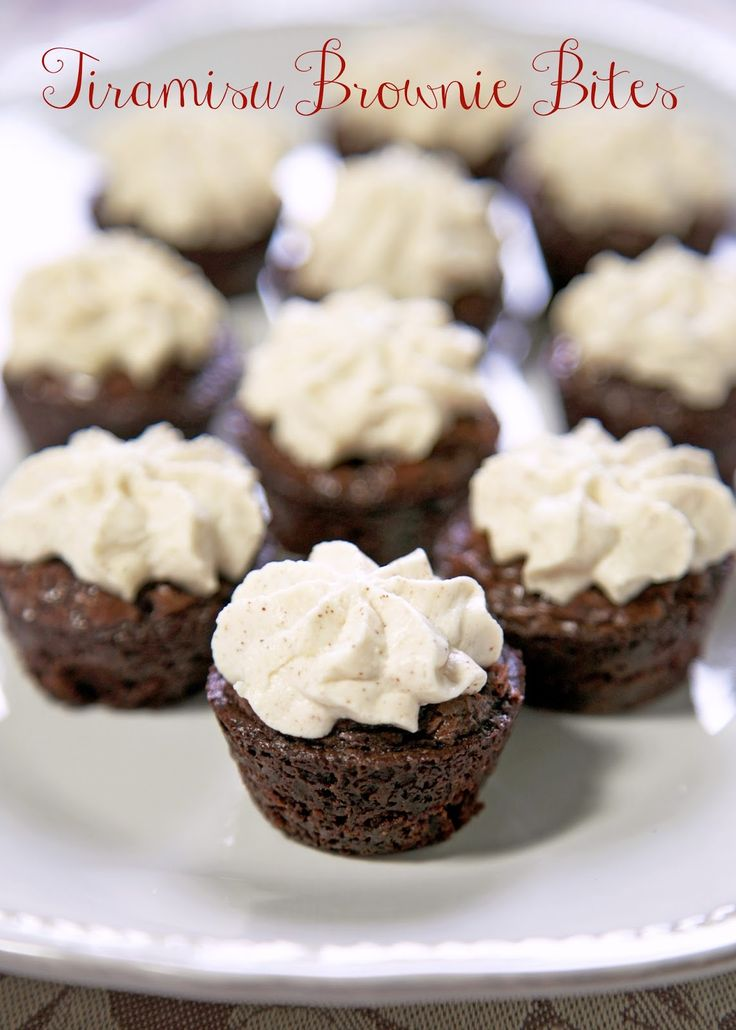 Tiramisu Brownie Bites - coffee brownies with a mascarpone frosting