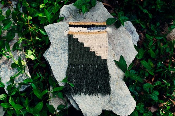 Woven Wall Hanging / Handwoven Tapestry / Weaving Fiber Art / Green & Natural Stairs / MADE TO ORDER