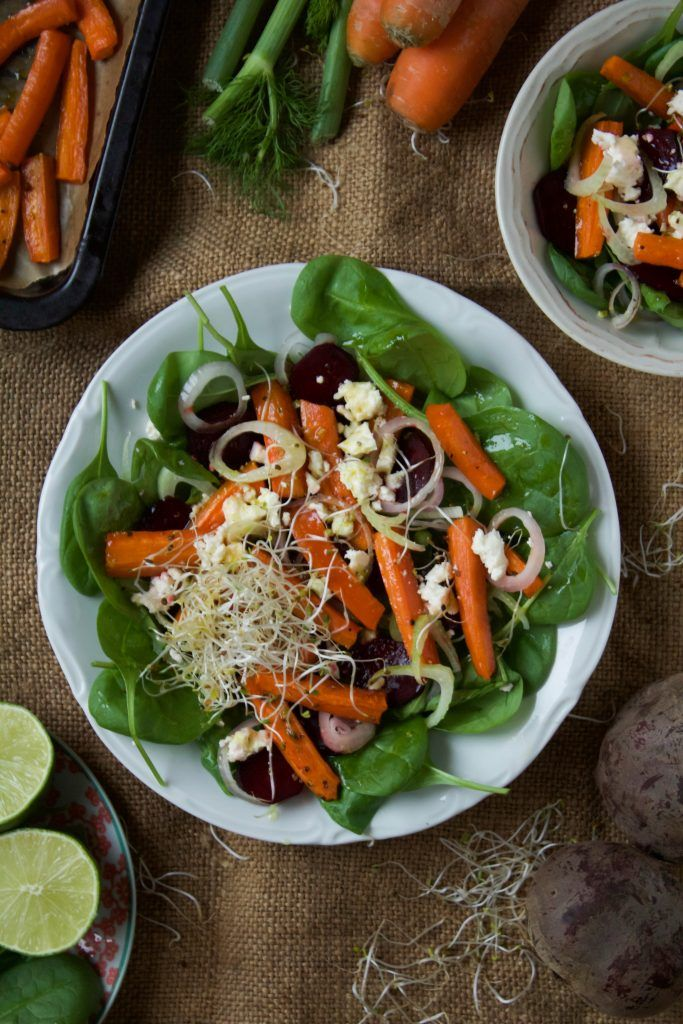 Salad with baked carrots and beetroot with fennel, shallots, feta and lime vinaigrette.