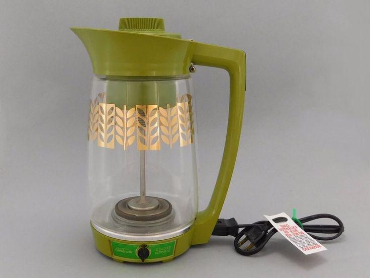 1960's Vintage Sunbeam Deluxe Percolator Coffee Maker, Olive Green & Glass, P-CJ