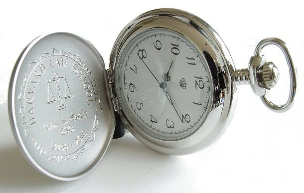 Devonshire Quartz Pocket Watch - FREE ENGRAVING:  This beautiful brushed stainless steel Devonshire precision quartz pocket watch is as accurate as it is rugged. Look for the Devonshire crown on every watch face. It guarantees that your pocket watch has a genuine plexi glass face. The outside, inside and back cover can be personalized with a monogram, name or special message.