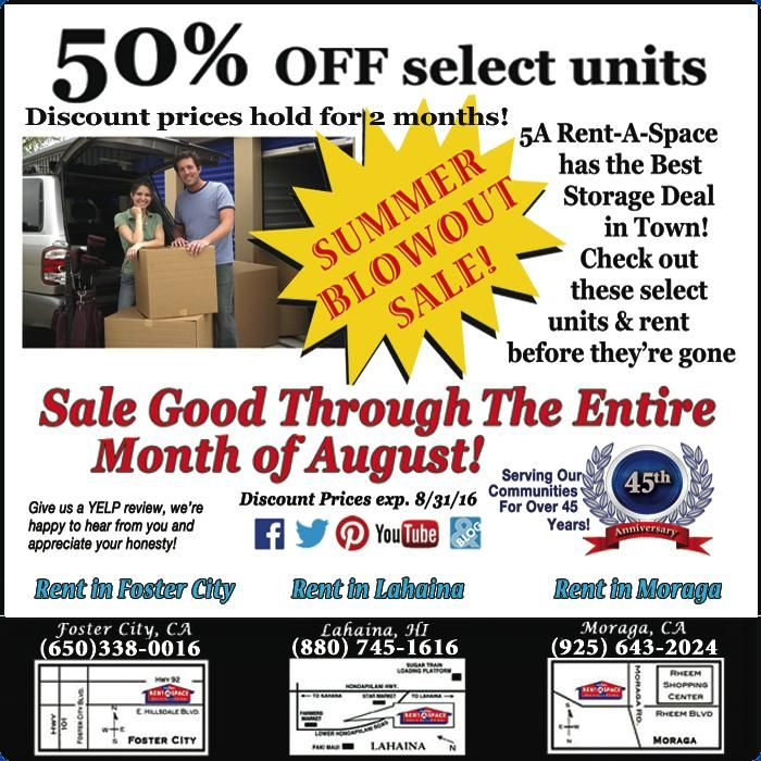 Amazing 50% Off Select Storage Units At 5A Rent A Space. Contact The