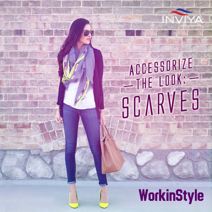 Want to add a bit of spark to your office wear? Why don't you do it with pretty scarves! ‪#‎INVIYA‬® ‪#‎WorkinStyle‬ ‪#‎Scarves‬