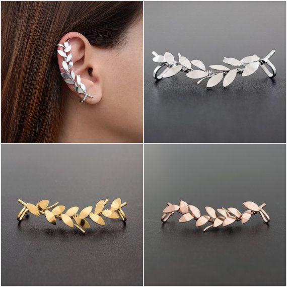 Branch earring cuff statement earring leaf ear cuff by emmanuelaGR