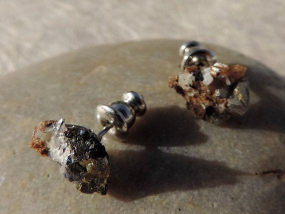 Chalcopyrite stud earings by twinflowersjewelry on Etsy