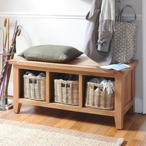 Montague Oak Bench with 3 Baskets (M515) with Free Delivery | The Cotswold Company