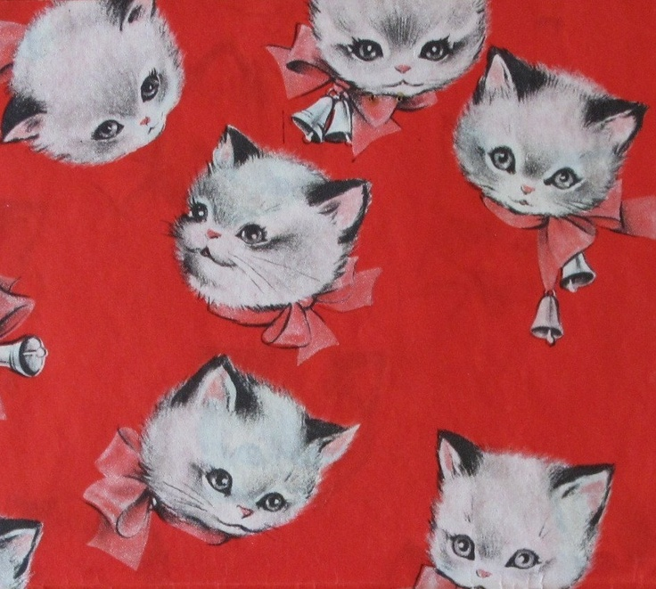 Vintage American Greetings Gift Wrap Wrapping Paper KITTENS with Bows 1950s
