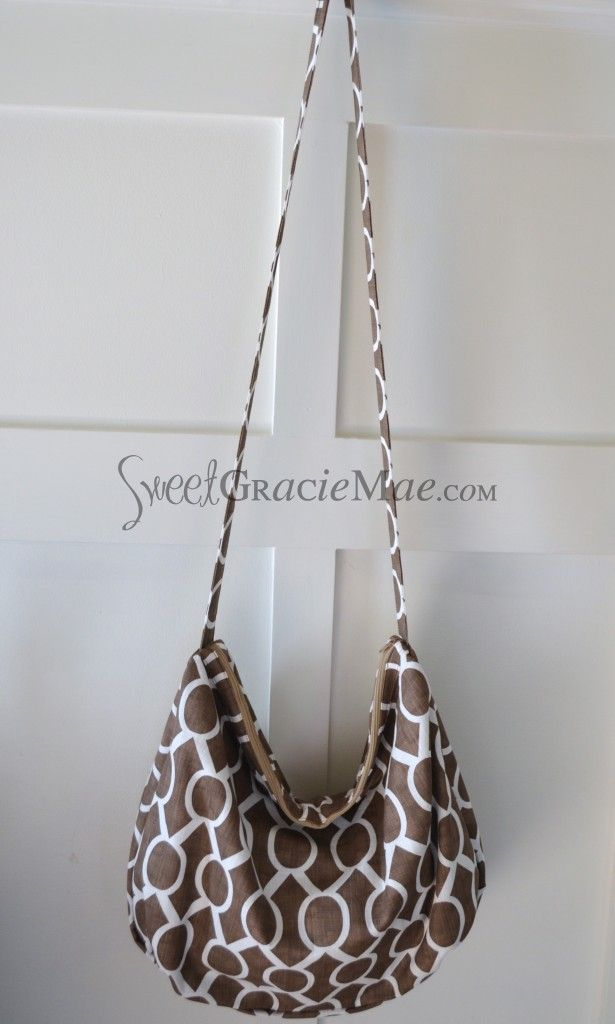 Zippered Crossbody Slouchy Bag in Brown (pattern by ithinksew.com)