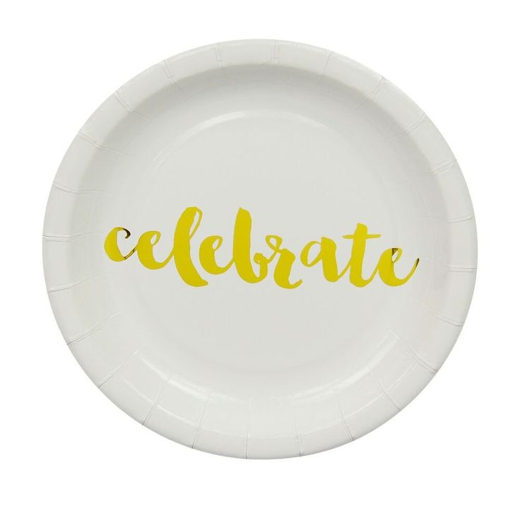 Gold Celebrate Cake Plates (12 Pack) – Lucky Lulu Party Shop