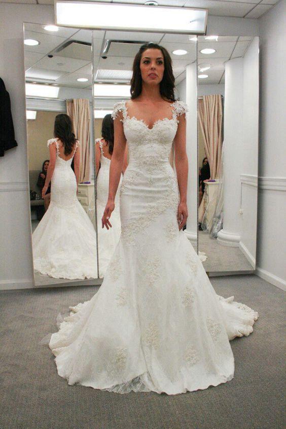 Sweetheart Cap Sleeves Backless Wedding Dresses,Mermaid Bridal Gowns,Beach Wedding Dress,N192 #weddingdress