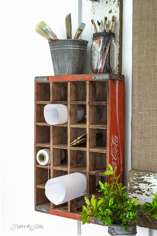 Coca cola crate turned message centre / funkyjunkinteriors.net