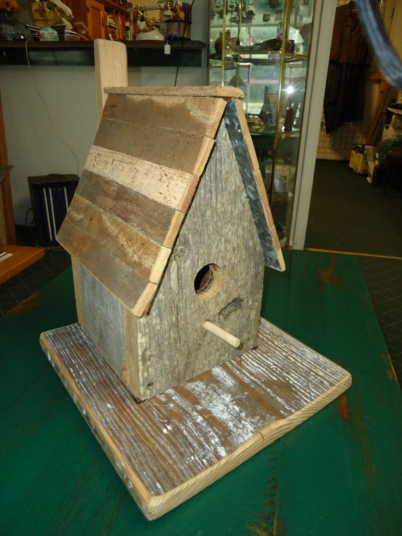 The Rustic Cabin Barn wood Bird House by HistoricalSalvage on Etsy, $38.00