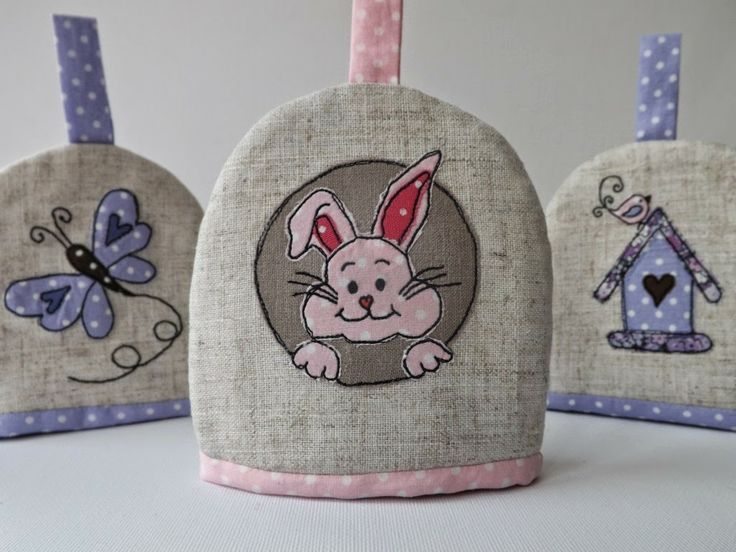 SewforSoul: Applique 'Easter Bunny' Egg Cosy with Freestyle Machine Embroidery. Cute Spring Theme / Birdhouse and Butterfly.
