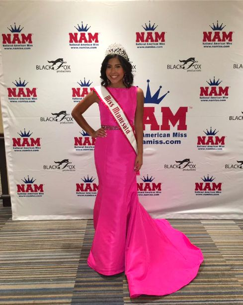 Grace Myler captured the title of Miss Minnesota Jr. Teen and will represent the state in that division at the National American Miss pageant this November. She caught the judges' attention in this youthful, bubblegum pink evening gown.