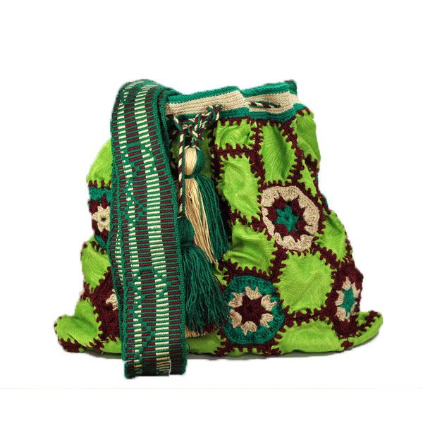 """This #ColombianStyle #handmade #mochila is called """"Hexagonal Velveteen"""". One single woman sews it and it takes approximately 25 days to make. The bag has a hexagonal velveteen design with dark green, green, brown, nude thread colors.  #Colombian #Style offers you vibrant colors and #beautiful patterns that represent the universe and nature. This #bags is a #unique piece of #art."""