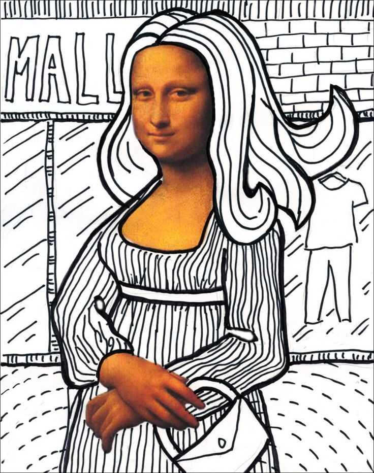 I've made a printout (download HERE) that includes only Mona Lisa's face and hands so students can creatively fill in the missing parts