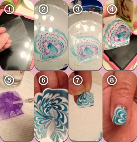 use a plastic ziploc bag to lay on the design, then lift out and let dry.  peel off the dried polish, cut out a square for your nail, then place it on the white base coat while still tacky. voilá