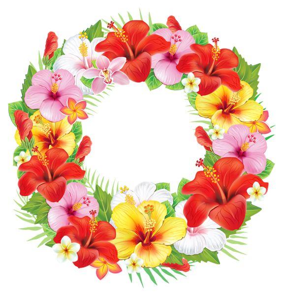 Венок из экзотических цветов PNG изображение клипарта
