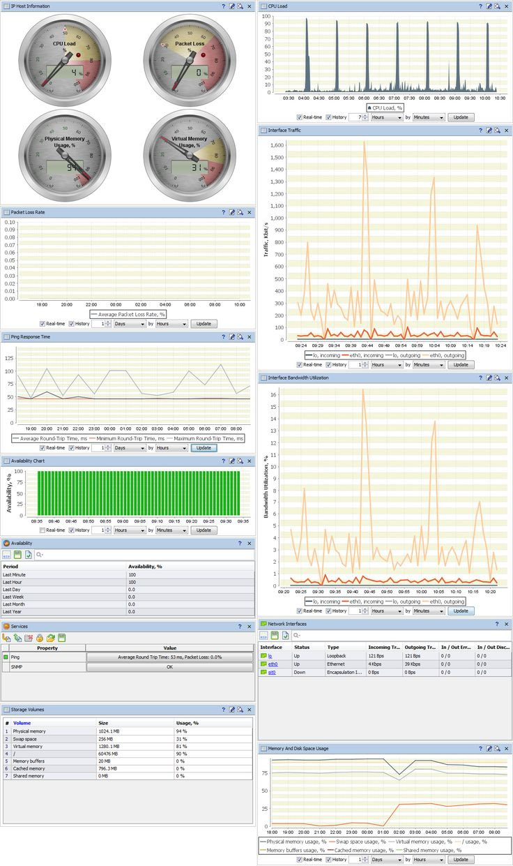 Server Performance and Health Monitoring. Typical Server Dashboard #AggreGate_Network_Manager provides alerting, charting, reporting, long-term history storage and deep analysis options for all critical server health metrics like availability, CPU load, disk space usage and more.
