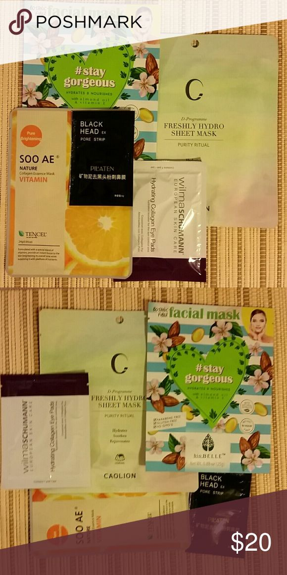 Bundle of masks & hydrating collagen eye pads Bundle includes : Caolion Freshly Hydro Sheet mask retail $7.00 Soo AE Pure brightening Essence mask retail $12.00 Bio Belle face mask with almond oil & vitamin E retail $15.00 Pilatin black head pore strip retail $5.00 Wilma SCHUMANN hydrating collagen eye pads retail $18.00 Welcome to offers All brand new, never opened and full sized Caolion Makeup