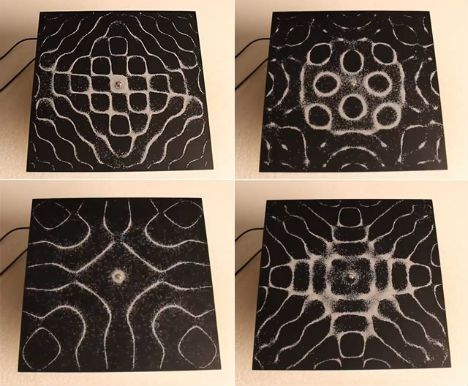 Grains of sand arrange themselves into complex geometric patterns according to audio frequencies in these fascinating resonance experiments