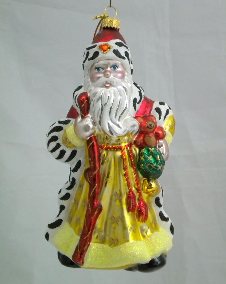 Edward Bar SANTA CLAUS WITH BEAR glass Christmas ornament Hand-made in Poland