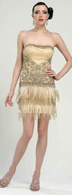SALE! Sue Wong 2013 Prom Dresses - Strapless Gold Feather & Beaded Flapper Dress