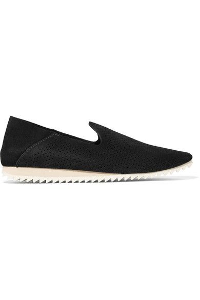 Pedro Garcia - Cristiane Perforated Suede Slip-on Sneakers - Black