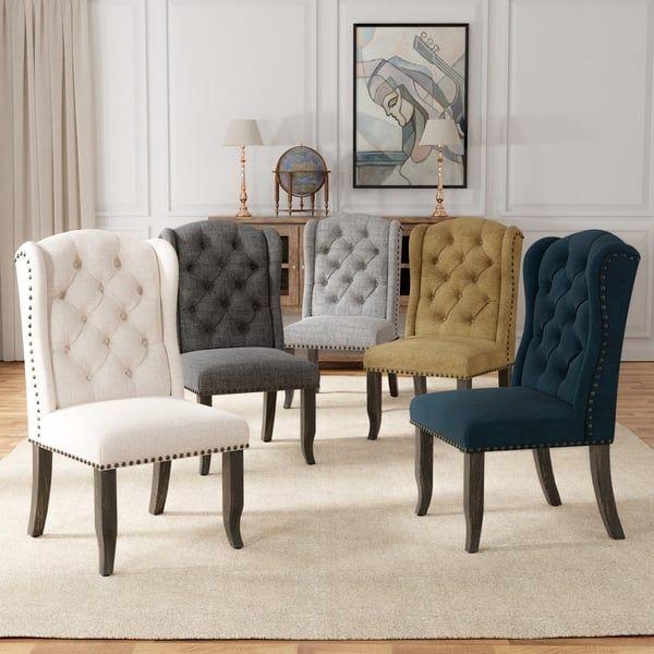 Furniture Of America Tays Rustic Linen Fabric Dining Chairs Set Of 2 Fabric Dining Chairs Dining Chairs Furniture