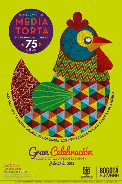 Afiche / Poster Media Torta 75 años  Concepto, diseño, ilustración y desarrollo. Trabajo realizado para el Instituto Distrital de las Artes IDARTES. Bogotá, 2013.#poster #typography #design #graphicdesign #ilustration