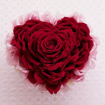 handmade heart-shaped bouquet - made of pink Aqua rose petals and red Grand Prix rose petals - beautiful ! ! !