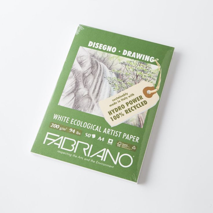 Fabriano Eco Recycled Sketch Pads are made from 100% recycled pulp and made using hydro-power. These quality pads have slight texture to the paper surface. Fabr