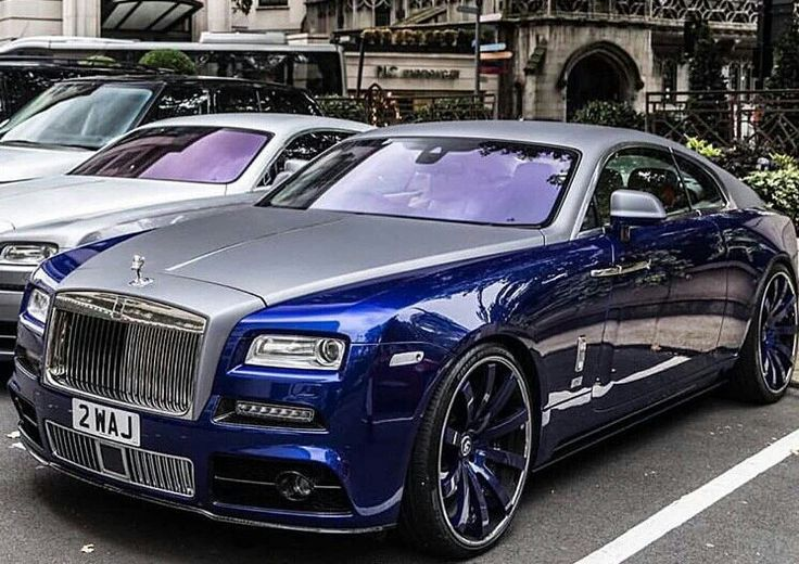 Two-tone blue and silver Rolls Royse Ghost