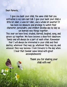 End of the Year Letter to Parents: Say Goodbye with a ...
