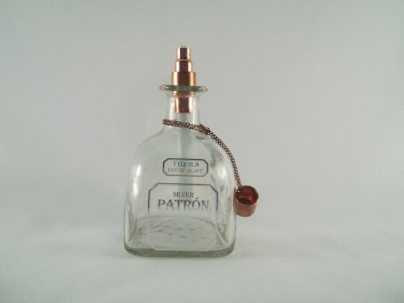 Patron Silver Tequila Tiki Torch Outdoor Oil by CustomCutGlassware
