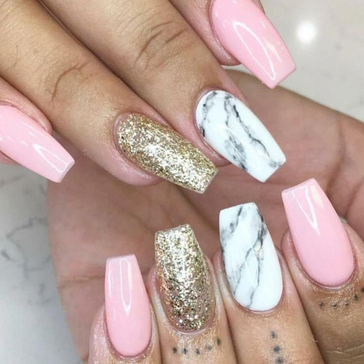 Tapered Square Nails Pink Nails Gold Glitter Nails Marble Nails Acrylic Nail Acrylic Glitter Gold Pink Acrylic Nails Gold Glitter Nails Gold Nails
