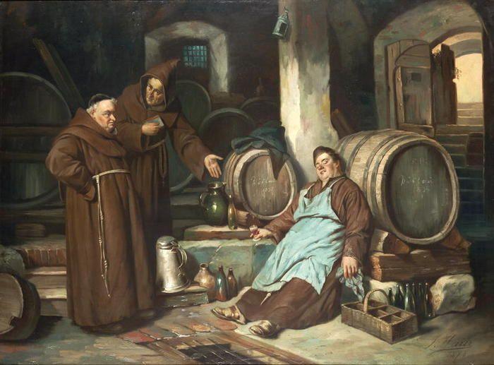 Joseph Haier (1816-1891) — Monks in a cellar, 1873 (700×517):