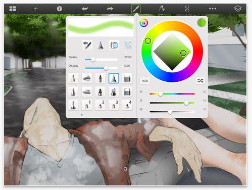 SketchBook Pro  Preço: $4,99 Compatibilidade: iPad  e Android   Sobre: É um app que fornece boas ferramentas para esboçar e fazer pinturas. Tem uma interface bem fácil de usar, então não vai ter muita dificuldade de usar. Algumas das ferramentas: Múltiplas camadas gerenciáveis; galeria para guardar o trabalho em andamento; suporte iCloud para armazenar e acessar suas telas em diferentes dispositivos.