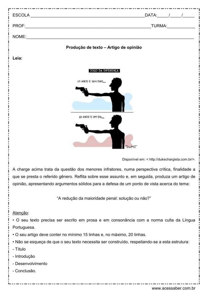Atividade de português: Produção de texto - Redução da maioridade penal - ensino médio