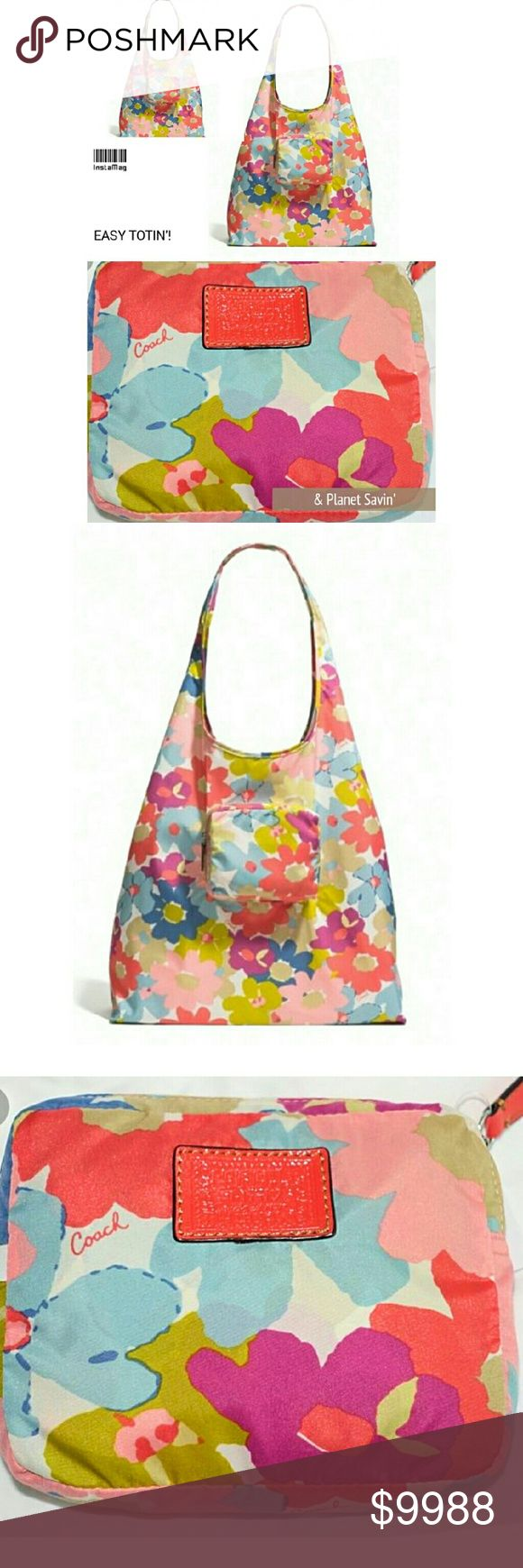 New! Coach Peyton Floral Shopper Folding Tote New w/o tags and never used. Permanent nylon, dual handle shopping tote! Discontinued pattern, measures approx. 15in. x 15in. w/self handle drop of approx. 10.5in  1 outside zip pocket when in use. Tote folds & zips into the approx. 8in. x 3.5in. pocket for extremely cool storage. Save our planet and shop in major style w/your unique & portable tote! Coach #60255 Bundle w/ the matching mini umbrella to complete your gear<Ask for 20% off discount…
