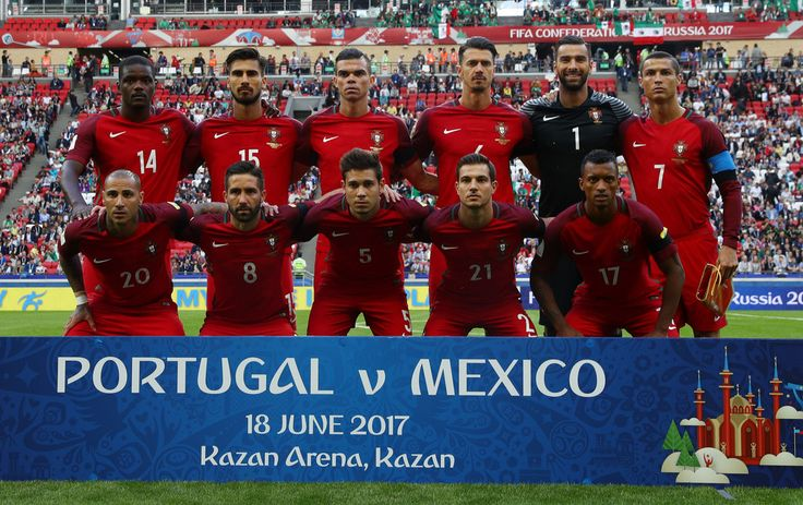 The Portugal team pose for a team photo prior to the FIFA Confederations Cup Russia 2017 Group A match between Portugal and Mexico at Kazan Arena on June 18, 2017 in Kazan, Russia.