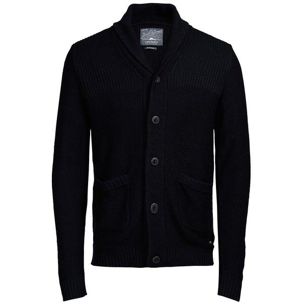 Jack & Jones Joranthon Knit Cardigan ($49) ❤ liked on Polyvore featuring men's fashion, men's clothing, men's sweaters, black, mens shawl collar cardigan sweater, mens cardigan sweater, mens cable knit shawl collar sweater, mens knit sweater and mens shawl collar sweater
