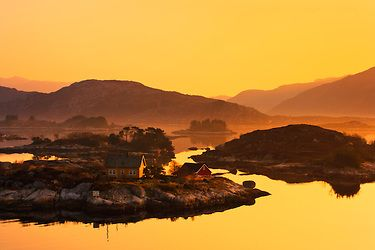 Morning light on Steinholmen near Frøya out on the coast of Sogn and Fjordane in Norway