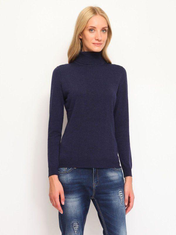 sweter golf długi rękaw damski   klasyczny szary, niebieski - SGO0090 TOP SECRET