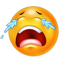 A sad crying emoticon smiley face character vector