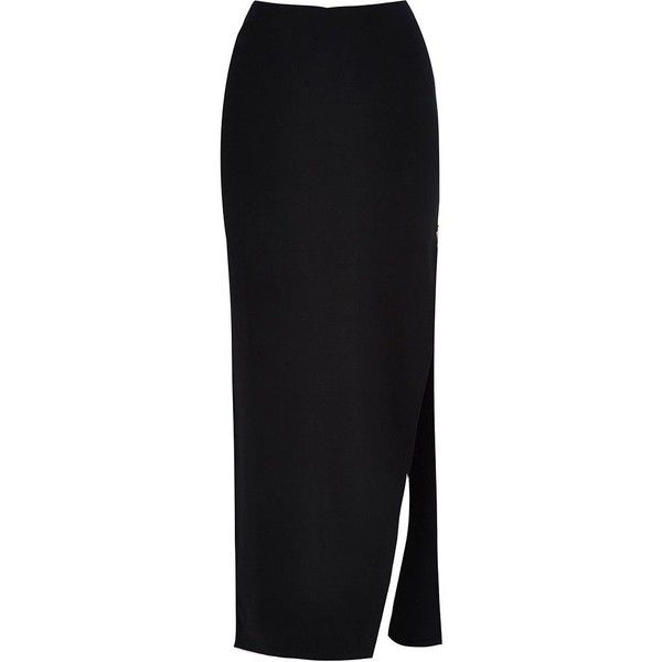 River Island Black side split maxi skirt ($50) ❤ liked on Polyvore featuring skirts, black, maxi skirts, women, tall maxi skirt, long black skirt, black maxi skirt, ankle length skirts and beach skirt