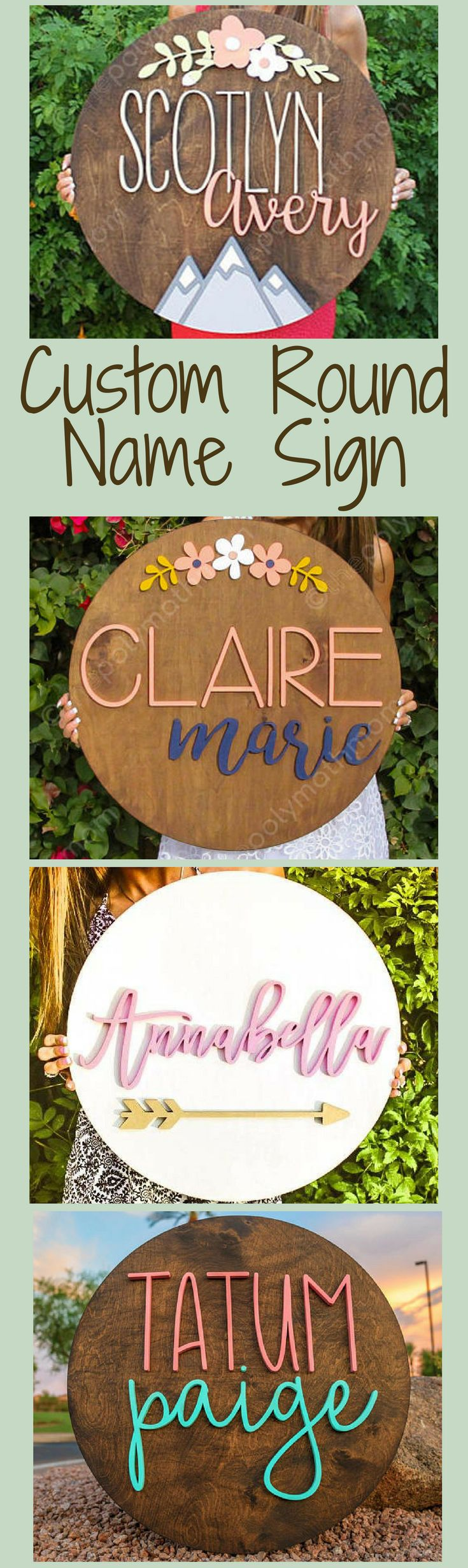 These name signs are so individualized! The cut out names and decorations are amazing! Cut Out Name Signs - Floral Arch, Mountain Scene, Round Custom Name Wood Sign, Rustic Nursery Decor, Farmhouse Nursery, Fixer Upper Sign, Family Name Sign, Baby Shower Gift Idea, Housewarming Gift Idea, Modern Girl's Nursery, Family Room Decor, Custom Sign, Name Sign for Gallery Wall, Laser Cut Name, Farmhouse  Decor, Rustic Decor, Rustic Farmhouse, Fixer Upper Decor #ad