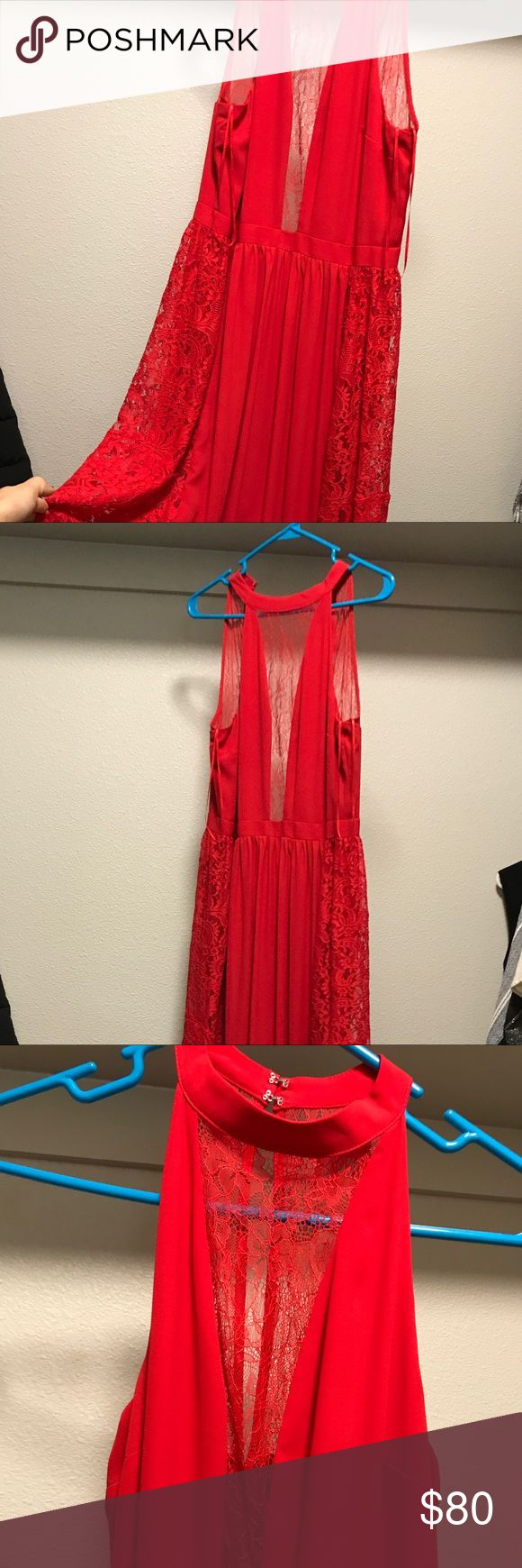 """Express Red Maxi Party Dress This dress is a stunning statement piece. It's been worn once - the tag is still intact. Has been hemmed as I'm 5'4"""" - works well for a short to medium girl while wearing heels. I wore 3-4 inch heels w this and it was perfect. It does have some dirt at the hem which would be easily removed at home or at the dry cleaner. See photos please. Material is a slinky poly-nylon blend with beautiful lace insets at the sides and at the collar. Really sexy but subtle. Skirt…"""